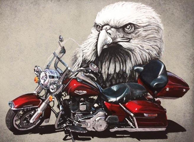Kwast - Auftragsmalerei - Adler und Harley-Davidson