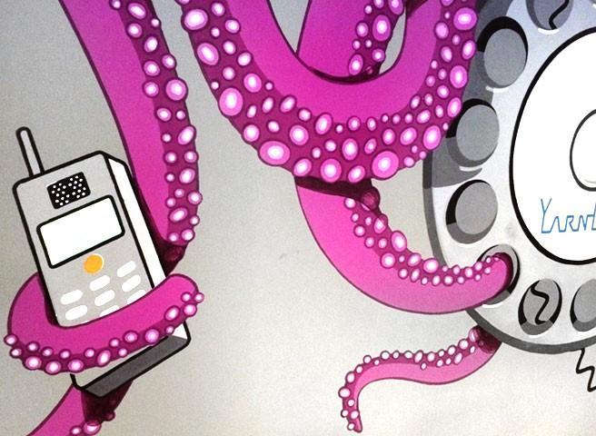 Auftragsmalerei Kwast Berlin - Wandmalerei für ein Büro, Oktopus