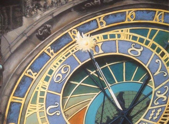 Kwast - Auftragsmalerei - Rathausuhr von Prag
