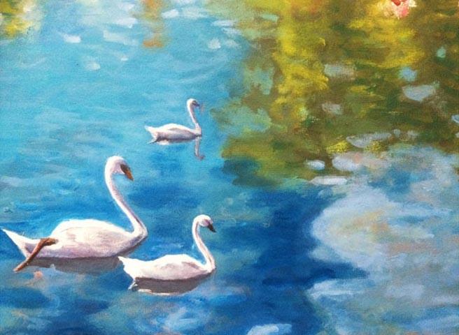 Auftragsmalerei - Berlin - Kwast - Schwäne auf dem Teich