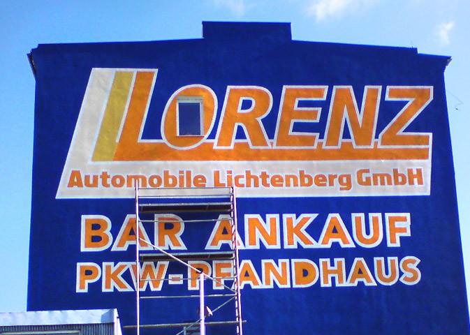 Kwast - Fassadenmalerei - Sichtwerbung Firma Lorenz