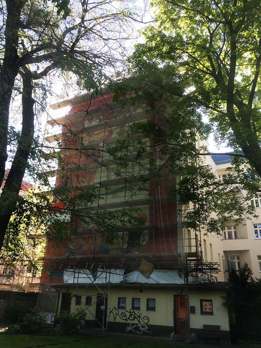 Fassadenmalerei - Berlin - Kwast - Jugendstilmalerei an Fassade Turiner Str. 7