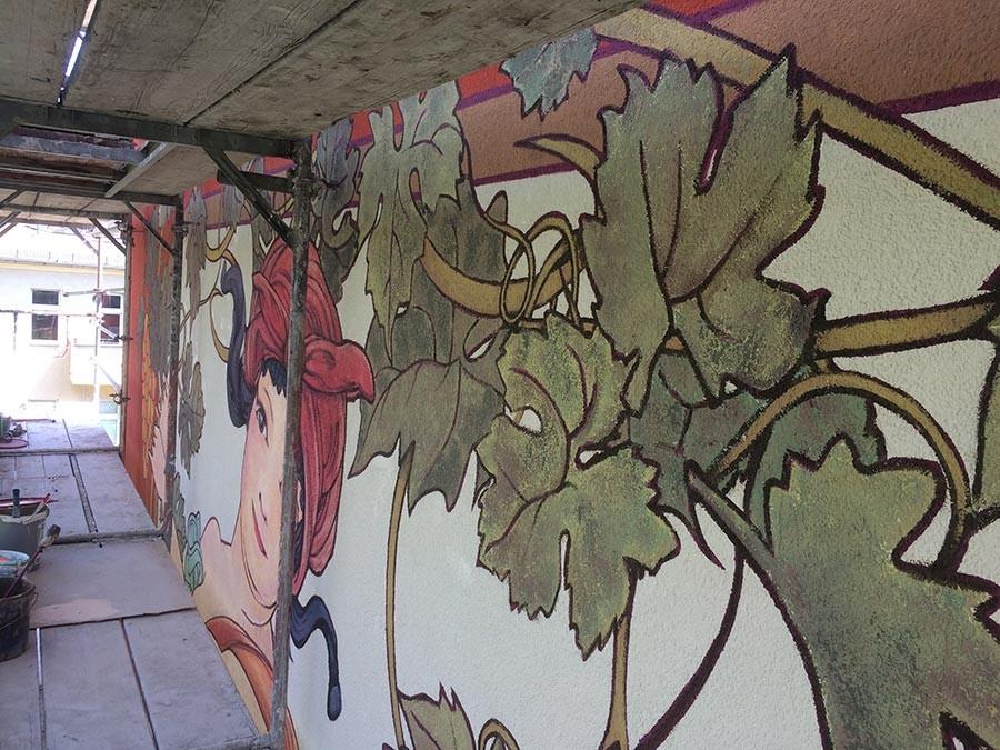 Fassadenmalerei - Berlin - Kwast - Jugendstilmalerei an Fassade Turiner Str. 7 Detail