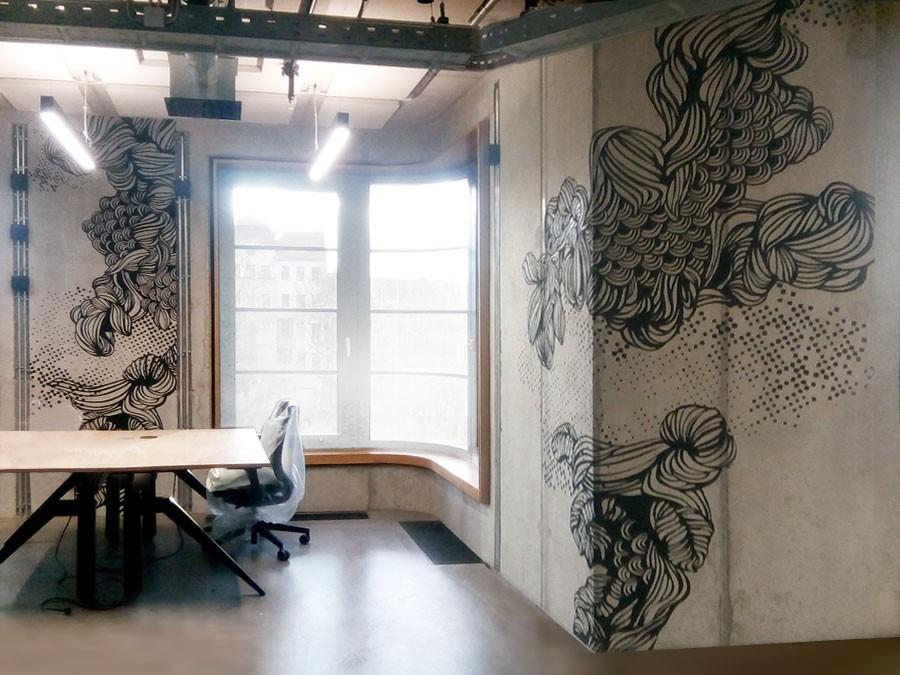 Auftragsmalerei Kwast Berlin - Wandbild für Co-Working Center Mercedes Benz