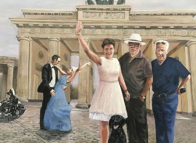 Auftragsmalerei Kwast Berlin, Portraitmalerei, Familienbild vorm Brandenburger Tor