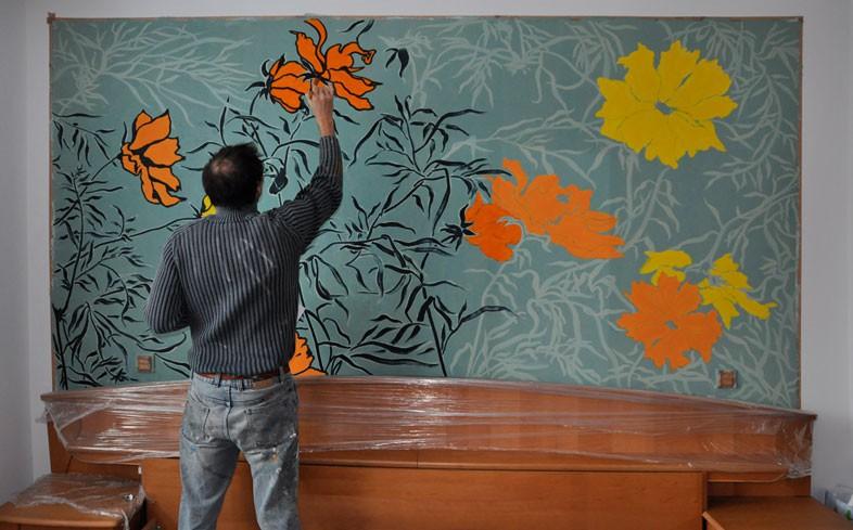 Blumenwand Schlafzimmer - Auftragsmalerei Kwast Berlin